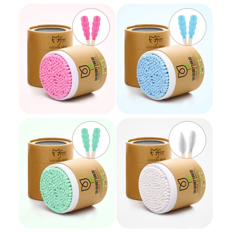 Multicolor Natural Disposable Pointed Handy Cotton Swabs Double Tip Cosmetic Beauty Swabs Ear Clean Tool  Boxes Of Portable