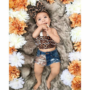 Baby Girl Clothes 1-6Y Summer Leopard Sling Crop Top Denim Shorts Headband 3Pcs Set Toddler Kid Child Outfit Costume Clothing(China)