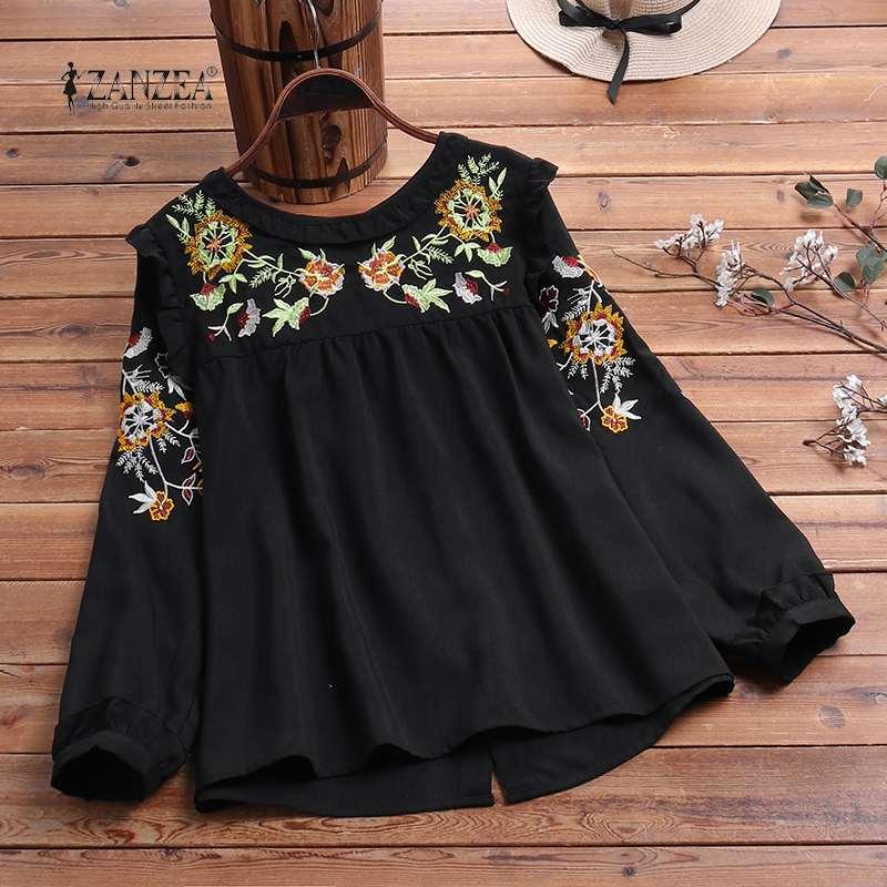 Plus Size ZANZEA 2020 Spring Floral Embroidery Tops Women's Vintage Blouse Female Back Button Tunic Blusas Long Sleeve Shirts
