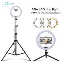 Luzes da foto 26cm/10in círculo anel luz regulável luces led selfie usb plug lâmpada para tiktok estúdio de vídeo luz com tripé suporte