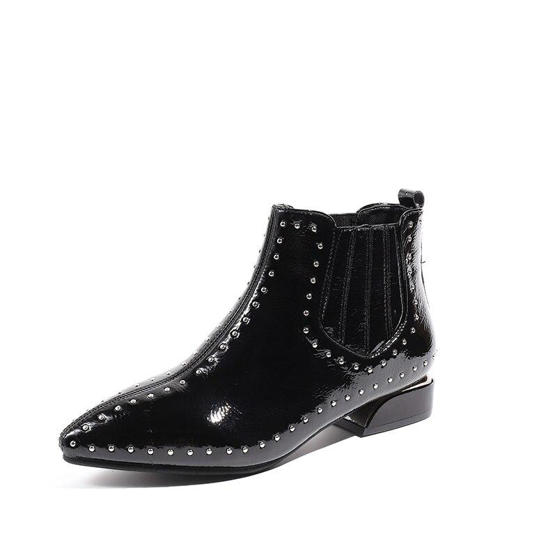 2019 г., Новая женская обувь короткие ботинки Liu Ding с острым носком на плоской подошве зимние модные ботинки martin из лакированной кожи женская о