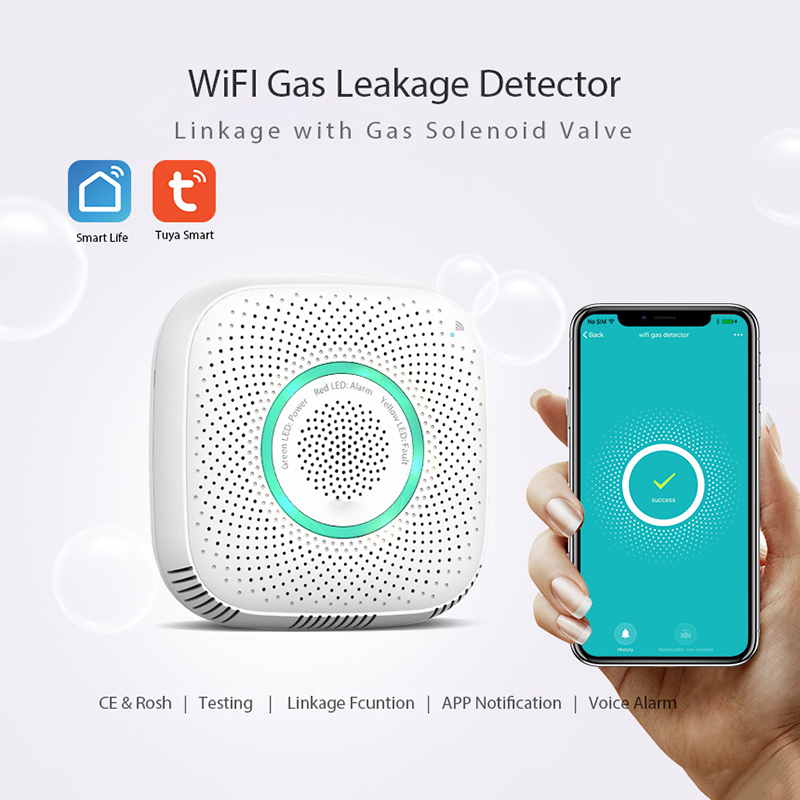 Wi-Fi Gas Leakage Detectors Alarm For Tuya Smart Life Home Security System Wireless Remote Control Work With Manipulator