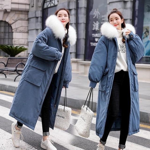 Famosa marca de alta calidad de tela de piel de melocotón sección larga de algodón de mujer sobre la rodilla engrosamiento holgado invierno abajo chaqueta de las mujeres - 5