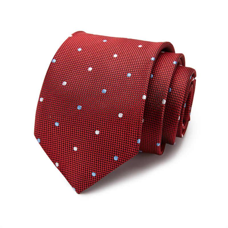 Akcesoria żakardowe tkane krawat na ślub biznes formalny krawat 7.5cm 53 styl klasyczne 100% jedwabne męskie krawaty pasek krawat w kratę 10061