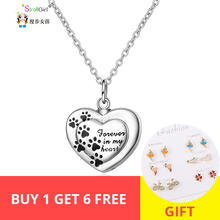 Strollgirl 925 sterling silver forever in my heart pendant cremation dog paw coffin necklace commemorative jewelry free shipping