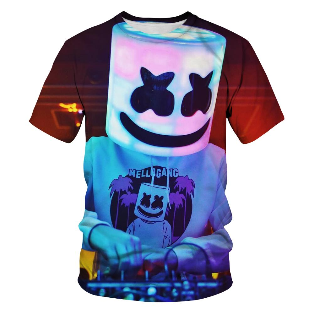 Fun 2020 men's funny t-shirts anime marshmallow 3D anime t-shirts funny glitter smiley couple t-shirts harajuku street t-shirts фото