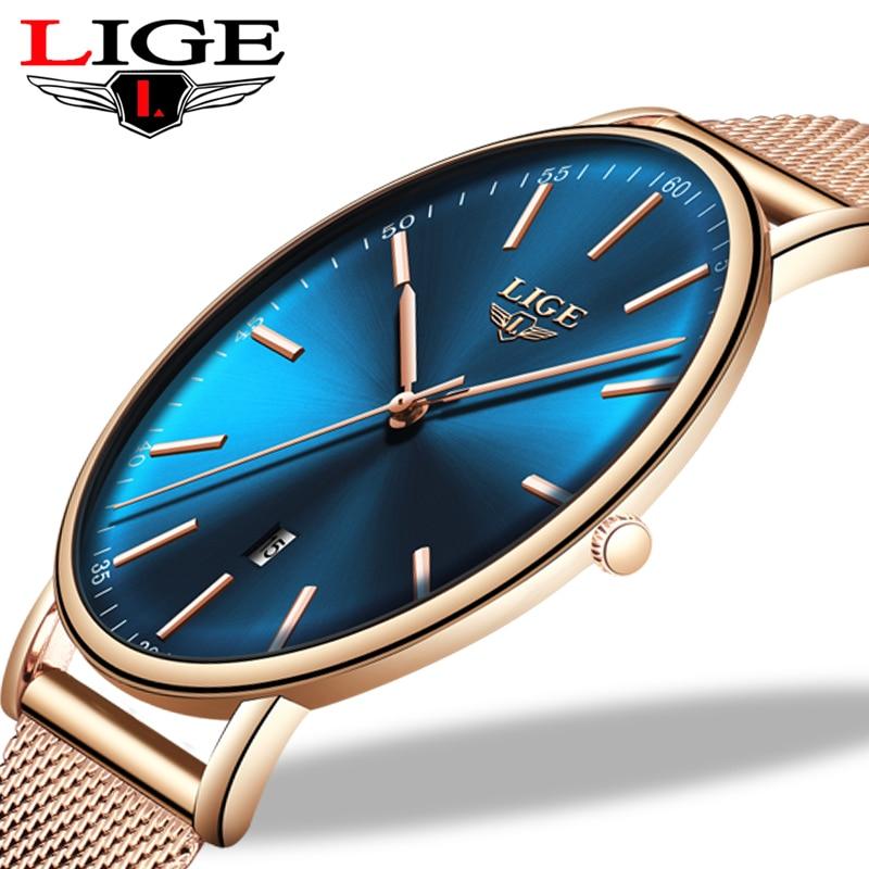 Lige top marca de luxo à prova dwaterproof água relógio das mulheres relógios moda senhoras aço inoxidável ultra-fino relógio de pulso casual quartzo