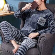 Pajamas Winter Fleece Men's Long-Sleeved New Autumn Youth Pigiama Plus 2pcs-Set Home-Service-Suit