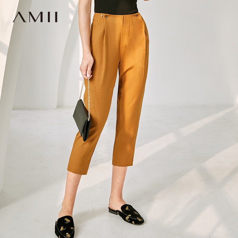 Amii Minimalism Causal Cropped Pants Women Spring Summer High Waist Loose Pant 11930075