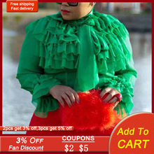 African Chiffion Long Sleeve Office Ruffle Blouse Shirt 2021 Vintage Female Casual Shirt Femme Tops Plus Size Lady Blousa