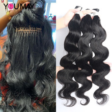 Hair-Extensions Virgin-Hair Microlinks 100%Human-Hair Peruvian Body-Wave Bulk Black