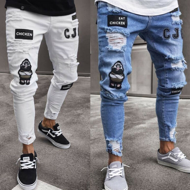 Men Ripped Jeans Super Skinny Fit Zipper Denim Pant Destroyed Frayed Trousers Cartoon Gothic Style Pant Men Clothes