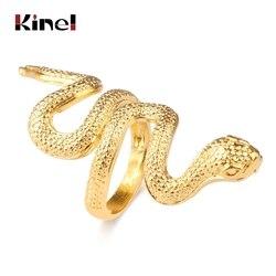 Kinel Fashion Snake Rings dla kobiet złoty kolor czarny metale ciężkie pierścień Punk Rock Vintage biżuteria dla zwierząt hurtowych