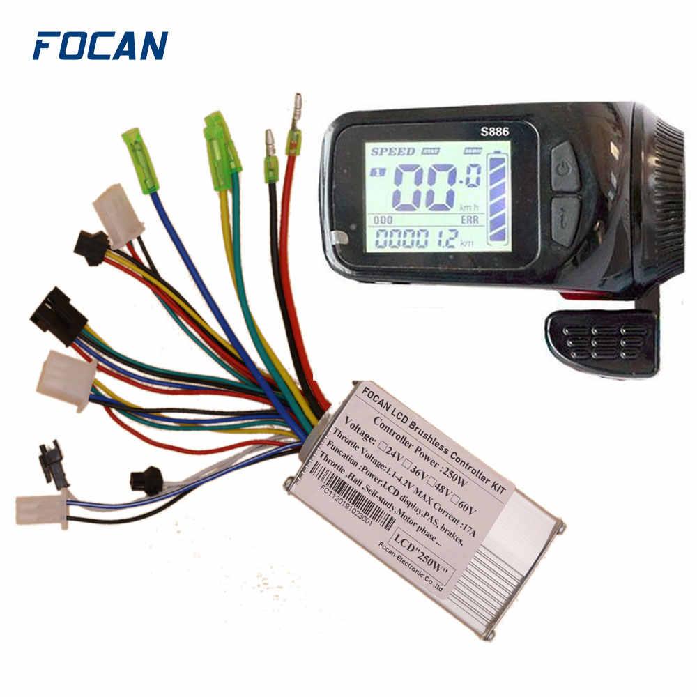24 V/36 V/48 V 250W silnik bezszczotkowy kontroler panel wyświetlacza lcd Thumb przepustnicy elektryczny rower skuter bezszczotkowy kontroler zestaw
