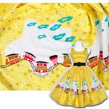 Trem impresso algodão cetim tecido amarelo roupas moda camisa pijamas diy tecidos de pano por metro para vestido material de costura