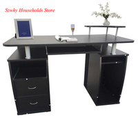 Integrated Melamine Board Computer Desk with Drawers Student Simple Writing Desktop Desk Black
