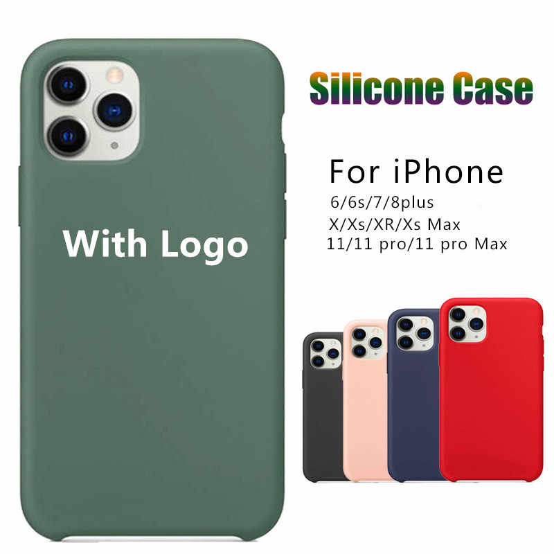 Official Liquid Silicone with Logo Phone Case for Apple IPhone 11 Pro Max XS XR X 8 7 6 6S Plus SE 2020 SE2 11Pro IPone 10 Cover