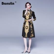 2019 Spring Summer Fall Runway Retro Baroque Print Turn Down Collar Long Sleeve Women Lady Party Casual Empire Waist Midi Dress