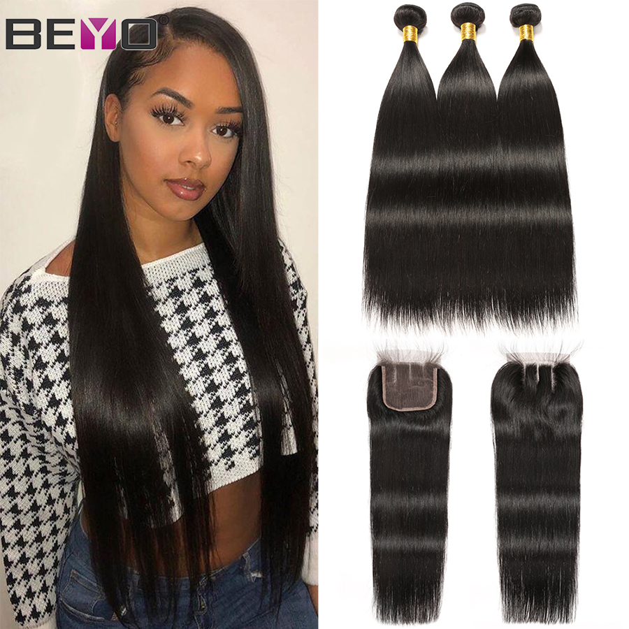 Peruvian Straight Hair Bundles With Closure 100% Human Hair 3 Bundles With Closure Non Remy Beyo Hair Extensions Natural Color