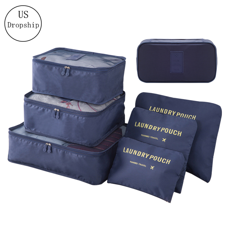 7 Pcs Waterproof Travel Bags Folding Clothes Underwear Shoe Cosmetics Tidy Packing Cube Organizer Luggage Suitcase Accessories