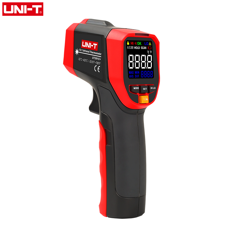 UNI-T Non Contact Infrared Laser Thermometer HD Color Screen Industrial Temperature Measurement UT301A+ UT301C+ IR Gun