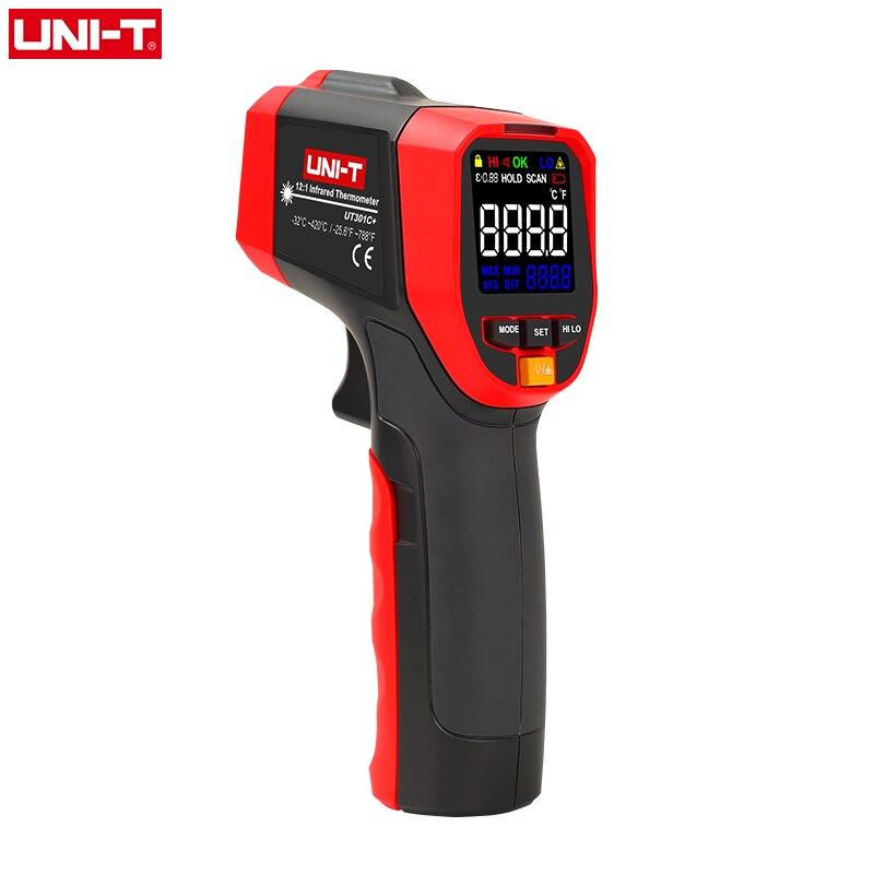 UNI-T não contato termômetro a laser infravermelho hd tela colorida medição de temperatura industrial ut301a + ut301c ir arma