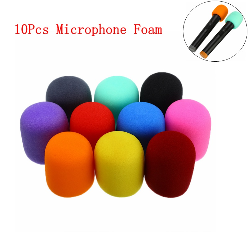 "High Quality 10Pcs Multi Color Handheld Stage Ball Shape Microphone Windscreen Foam Mic Cover Karaoke DJ 2.8""x2.3"""