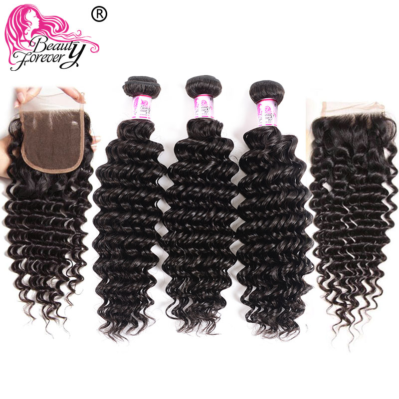 Beauty Forever Deep Wave 3 Bundles With 2pcs Closures 4*4 Same Part Brazilian Hair Weaves Remy Human Hair Bundles With Closure
