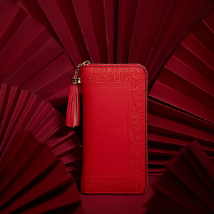 Image 1 - Pmsix 2020 Embroidery Cattle Split Leather Wallet Zipper Brand Long Womens Wallets Purses Black Red Ladies Clutch Wallet P420017