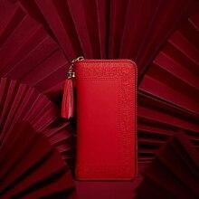 Pmsix 2020 haft bydło skórzany portfel z przegródką Zipper marka długie portfele damskie torebki czarny czerwony panie sprzęgła portfel P420017