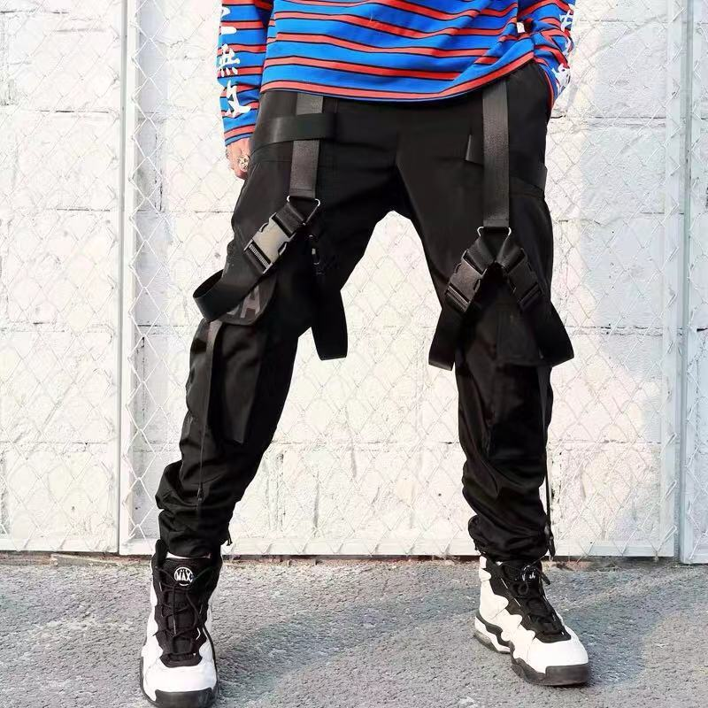 Multi Pockets Ribbons Design Joggers Cargo Harem Pants Streetwear 2019 Men Autumn Hip Hop Casual Sweatpants Male Pant WB75