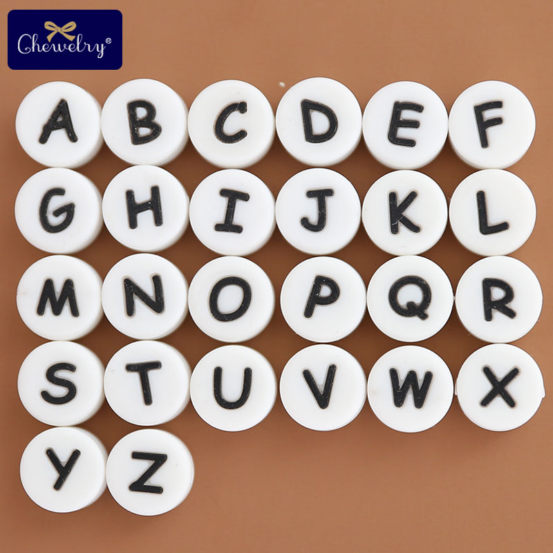 50pcs Letter Silicone Beads English Alphabe Beads Food Grade Silicone Chewing Beads DIY For Baby Teething Toys Pacifier Pendant