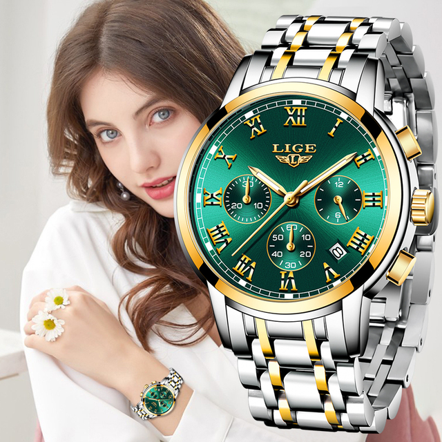 LIGE-reloj de cuarzo de lujo para mujer, accesorio de marca superior, resistente al agua, de acero inoxidable, regalo de cita, nuevo, 2021 1