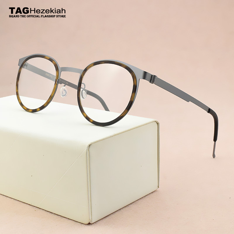2020 Fashion Brand Eyeglasses Women's Round Titanium Glasses Frame Men Optical Glasses Frame Women Spectacle Frames Men's 9704