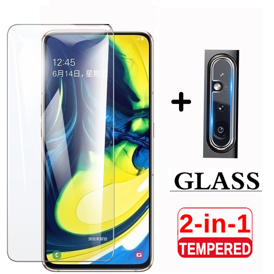 2in1 Tempered Glass On For Samsung Galaxy A80 Camera Lens Screen Protector Glass For Samsung A 80 SM-A805F A90 5G Glass Film