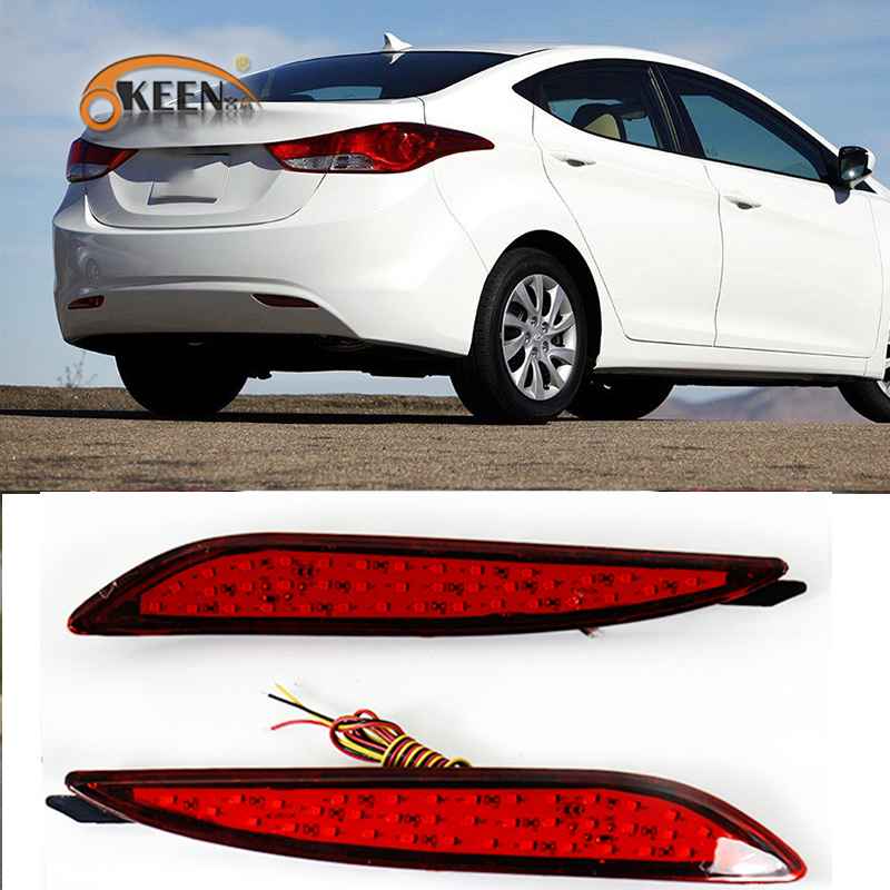 OKEEN For Hyundai Elantra 2012 2013 Car Led Rear Bumper Reflector Daytime Running Lights 35 Led Stop Brake Tail Light
