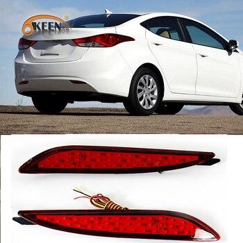 OKEEN para Hyundai elantra 2012 2013 Reflector de parachoques trasero Led para coche luces de circulación diurna 35 Led luz trasera de freno de parada