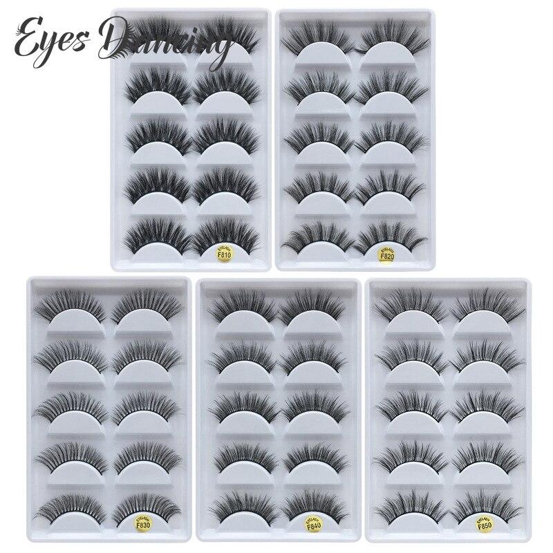 Глаза танцы 5 пар Накладные ресницы 3D норковые ресницы натуральные многопачные ресницы для увеличения объема cilios инструменты для наращивания ресниц G800|Накладные ресницы|   | АлиЭкспресс