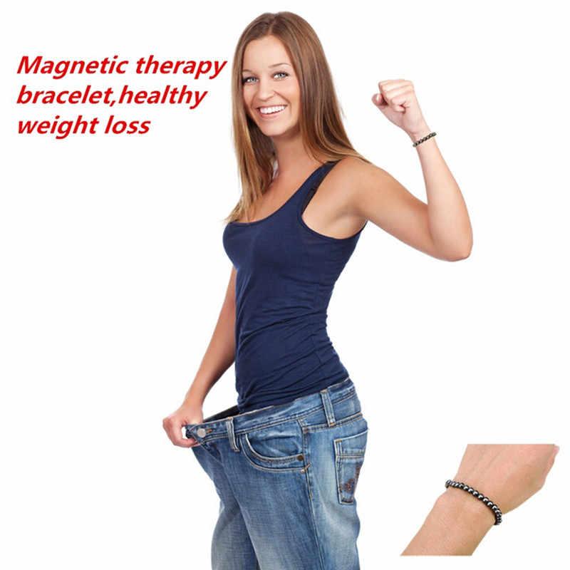 Unisex 1 adet kilo kaybı yuvarlak siyah taş manyetik terapi bilekliği sağlık lüks zayıflama ürünü