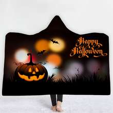 Custom DIY Printing Hooded Blanket for Adult Gothic Halloween Killers Sherpa Fleece Wearable Throw Microfiber Bedding