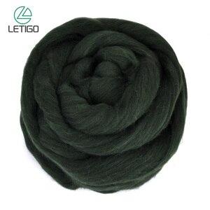 200g de lana de fibra negra hilado de aguja para fieltro de lana suave para manualidades de costura
