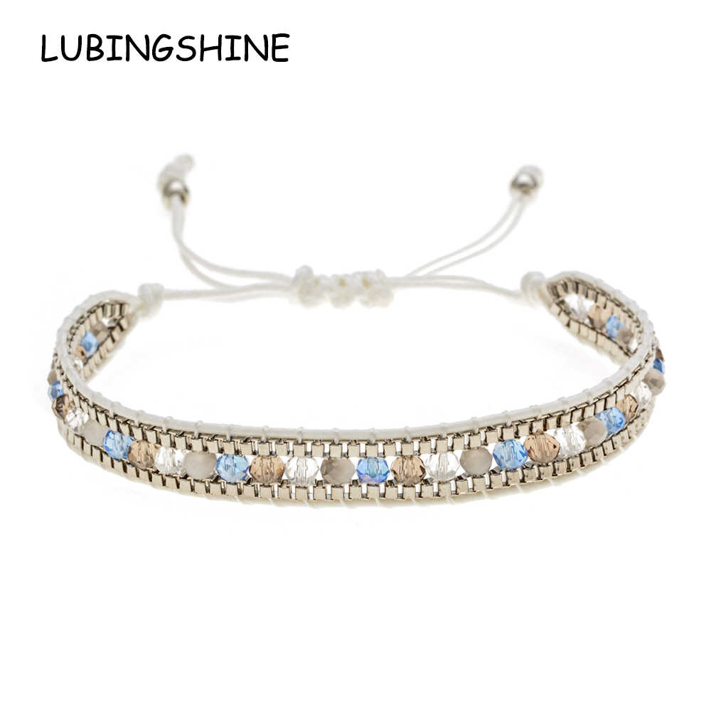 LUBINGSHINE Woman Men Handmade Bohemia Weave Adjustable Rope Chain Crystal Charms Bracelets Wristband Fashion Jewelry Gift