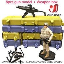 Модель пулемета 1/6 8 шт. + коробка оружия HK 53 MP5/7/40 VECTOR UZI MK18, модель пулемета в сборе, пазл, оружие для экшен-фигурки
