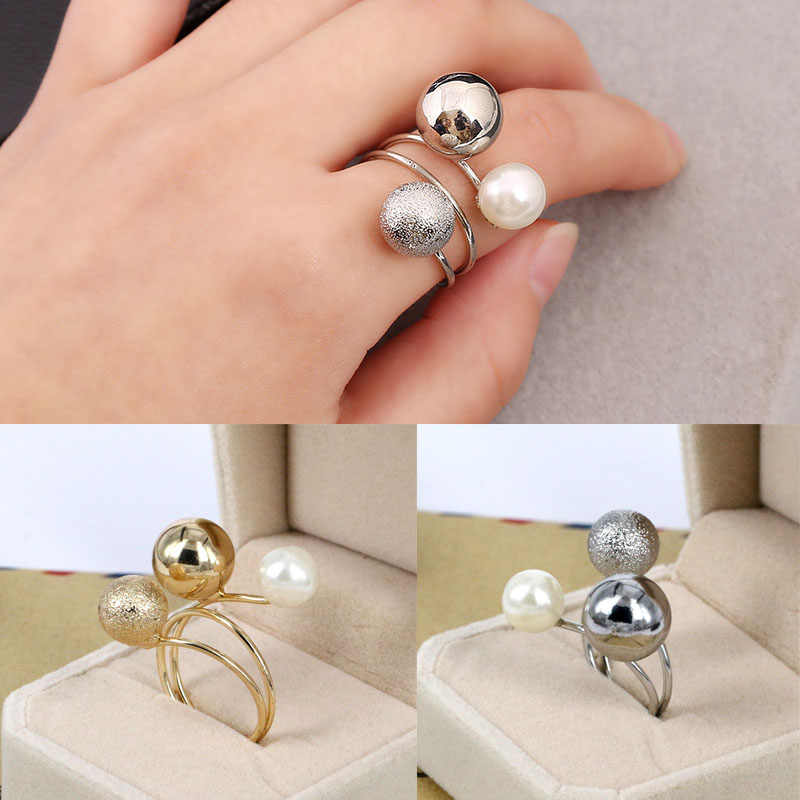 Adjustable Opening ring Fashion Jewelry Multi Circle Finger Rings Big Metal Balls Imitation Pearl Ring For Women Accessories