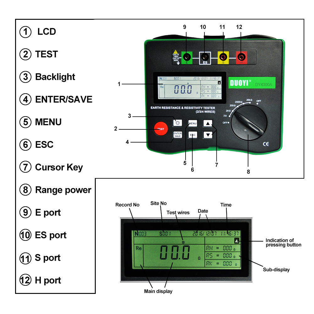 Image 2 - Duoyi DY4300A 4 極接地抵抗と土壌抵抗テスターデジタル液晶 0 20KΩ シリーズ干渉電圧周波数テスター抵抗値メーター   -