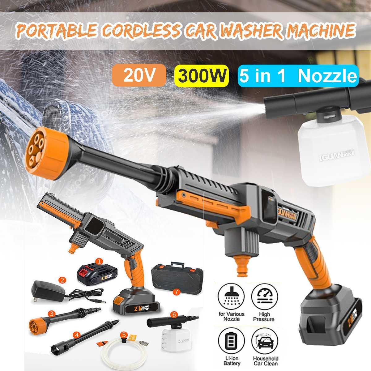 20V Portable Electric High Pressure Washer Machine   Cordless Water Guns Nozzle Hose Pump Foam Lance Rechargable Car Home Garden