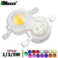 Светодиодная лампочка Epistar высокой мощности 1 Вт, 3 Вт, 5 Вт, с COB матрицей, 33/45 мил, цвет: теплый/белый/красный/синий/желтый/зеленый для светодио...