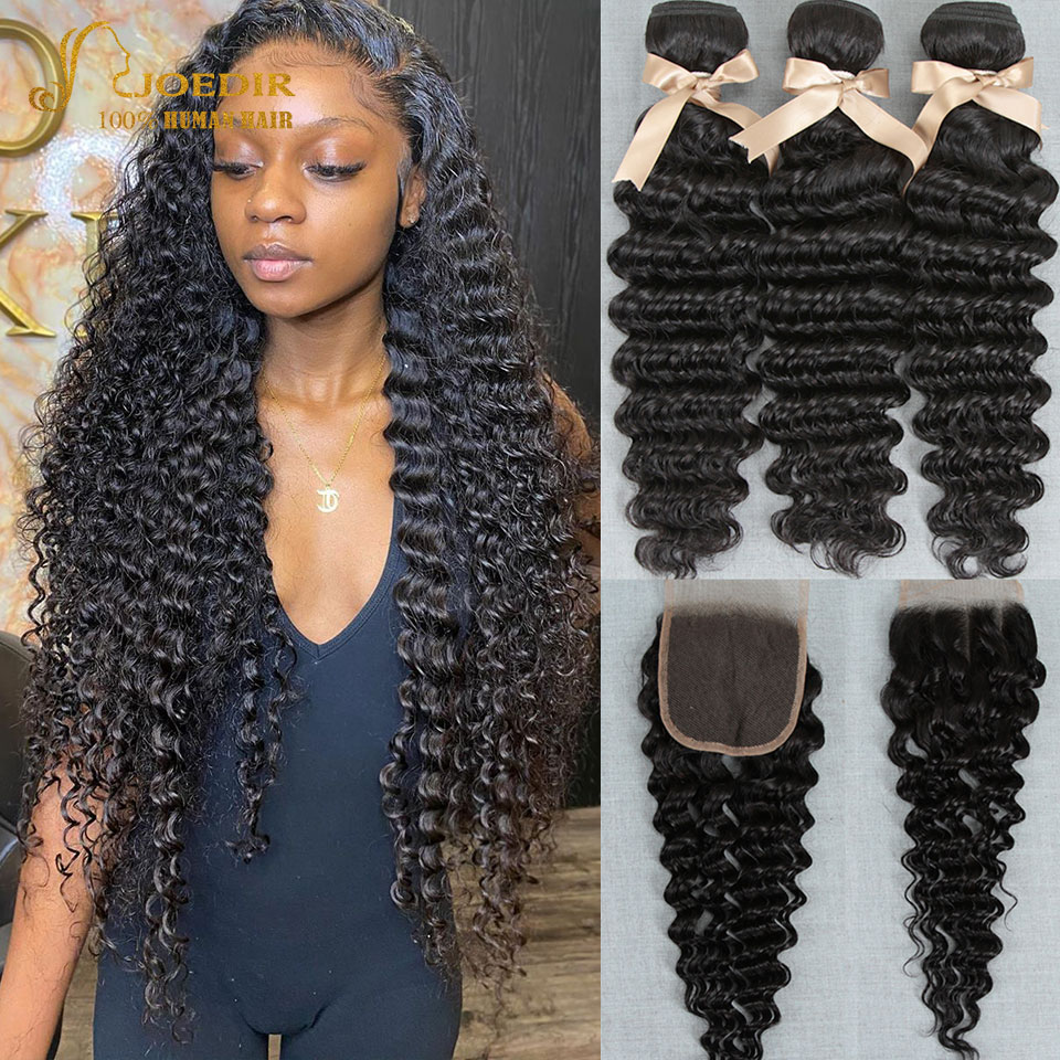 Brazilia волос афро кудрявый вьющиеся пряди с закрытием кудрявые вьющиеся пряди с закрытием Joedir Non-Волосы Remy для черный Для женщин
