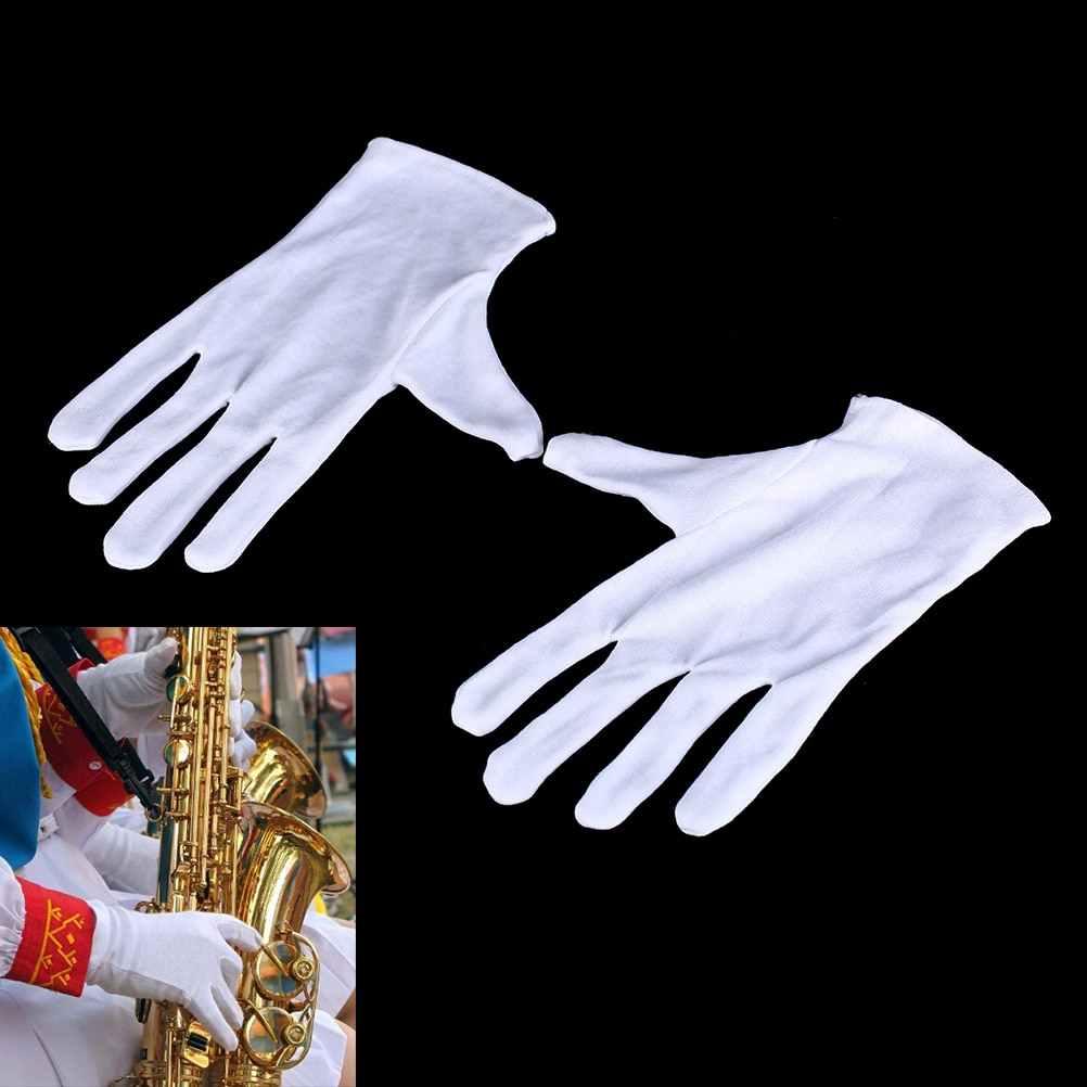 Alat Musik Putih Lembut dan Bebas Serat Kinerja Sarung Tangan untuk Saksofon Terompet Flute Klarinet Marching Band