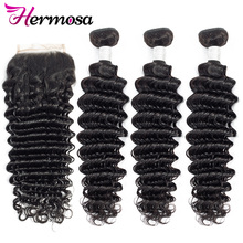 Deep-Wave-Bundles Closure Human-Hair Hermosa with Weave Non-Remy
